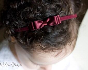 Little Burgundy Baby Headband - Flower Girl Headband - Little ELLA Burgundy Satin Bow Handmade Headband - Baby to Adult Headband
