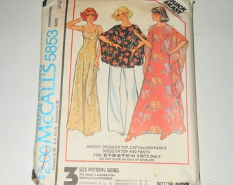 Vintage McCalls 1970's Misses Dress Or Top, Caftan And Pants For Stretch Knits Only - UNCUT - Size 10 - 12 - 14 Pattern Number 5853 - OOP