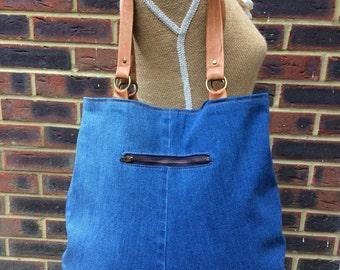 Recycled Denim bag- Blue denim bag- MEDIUM tote/saddle style- strong tan leather handles.