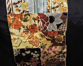 Vtg 70s Upholstry Fabric Squares Blue Orange Gold Yellow Floral Stripe Stitched Together Wall Hanging Rug Retro