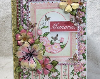 OOAK Mini Album - Heartfelt Creations - Arianna Blooms, Pinks, Greens, Yellows, Girly, Photos