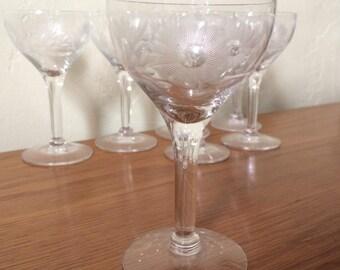 Vintage Etched Cordial Glasses Set of 7 Mid Century Floral Aperitif Liqueur Sherry Stemware Flower Barware Shot Glasses