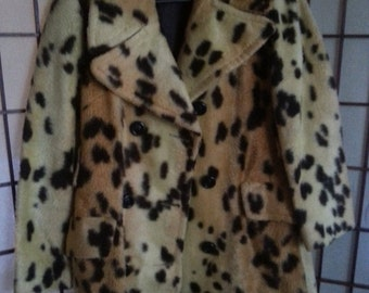 Christmas Sale Vintage Leopard Faux Fur Jacket Medium - Large 1960's Old Hollywood Glam Womens Mad Men Mod Glamour Girl Rockabilly Pin Up VL