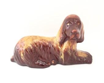 Blue Mountain Pottery Dog Figurine - BMP Art Pottery Canada - Canadian Pottery Dog Spaniel Figurine - Brown Yellow Glaze