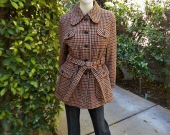 Vintage 1970's Swingles Multi Colored Plaid Wool Jacket - Size Medium