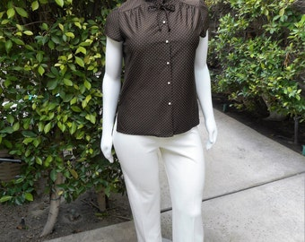 Vintage 1970's Ample Togs Brown Polka Dot Short Sleeve Blouse - Size 20