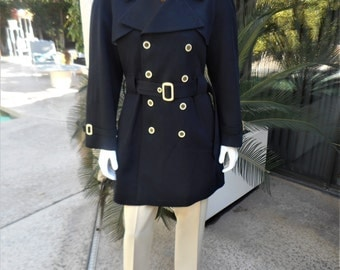 Vintage 1970's Harbour Master Navy Blue Trench Style Rain Coat - Size 42 reg.