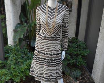 Vintage 1970's Rona Beige & Brown Print Knit Dress - Size 8
