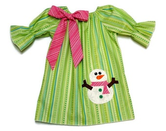 Girls Christmas Peasant Dress Snowman Applique Green Stripe Pink Bow Size 3-6 mo, 6-12 mo, 18 mo, 2T, 3T, 4T, 5, 6, 8