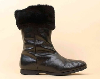 50s 60s Vtg Black Genuine Leather & Wool Lined Fur Cuff Tall Ankle Boot / Weather Resistant MOD Pin Up Almond Toe 6 Euro 36