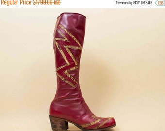 20% OFF 1DAY SALE 70s Vtg Custom Leather & Python Snakeskin Lighting Bolt Knee High Boots / Glam Rocker England Bowie Rocker Unisex M 9 W 11