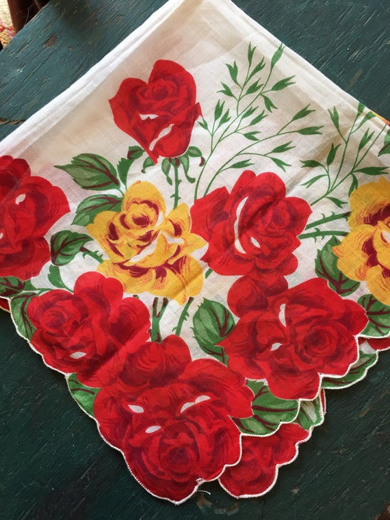 Vintage Handkerchief Large Red Yellow Roses
