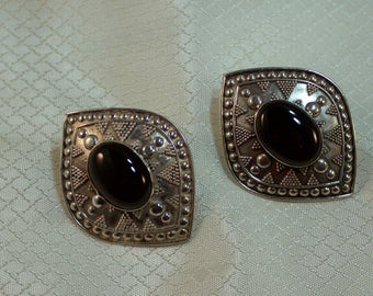 Southwestern Styled Sterling Shield Earrings with Onyx Centers