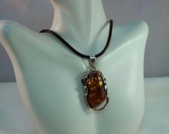 Baltic Amber Pendant, Artisan Sterling Amber Pendant