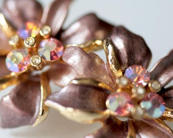 Vintage Purple and Gold Enamel Flower Gold Clip Earrings
