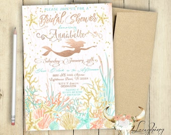 Mermaid Bridal Shower Invitation / Bridal Party / Bridal Shower / PRINTABLE / Customized / Lingerie Shower / Watercolor /Chic / Bride to be
