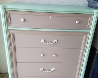 Solid Wood Thomasville Tall Dresser and Nightstand Coastal Baby Room