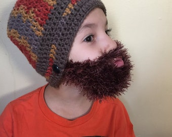 Handmade Crochet Beard hat, beard beanie. Mixed colors hat with brown beard, beard hat, men beard hat, kids beard hat, babies beard hat
