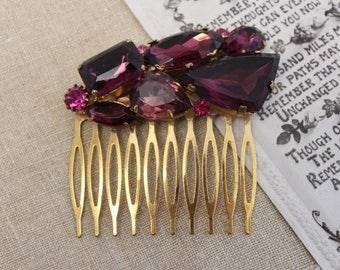 Vintage - Antique - Gold, Purple Bridal Hair Comb - Headpiece