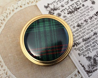 Vintage, Compact - Margaret Rose - Tartan- Powder Compact, Gold, Make Up Mirror