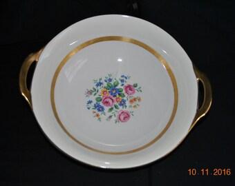 "Vintage Haviland Gainsborough ( New York) 9"" Handled Vegtable Bowl Gold Trim"