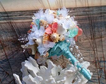 Coral and Aqua Beach Bouquet, Seashell Bouquet, Bridal Bouquet, Beach Bouquet, Tropical Bouquet, Destination ,Seaside , Made to Order