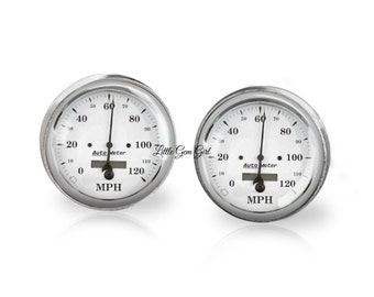 Classic Car Speedometer Cuff Links - Hot Rod Cufflinks - Auto Racing for Father and Groom - Sterling Silver or Stainless
