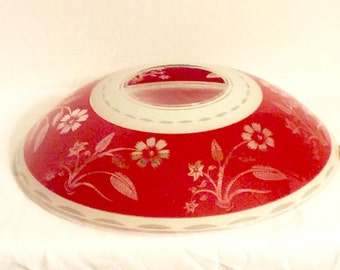 Red White Lamp Shade Glass 1960's- 70's Vintage