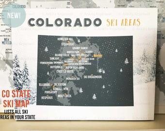 Colorado Ski Resorts, Map for Skiers, Snowboarding decor, CO Ski Map, Adventure Sports decor, Snowboarding map, Teenager Decor, CO Skiing