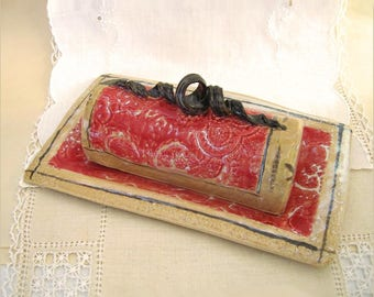 Hand Built Stoneware Stick Butter Dish in Black, Red, Beige with Lace Texture
