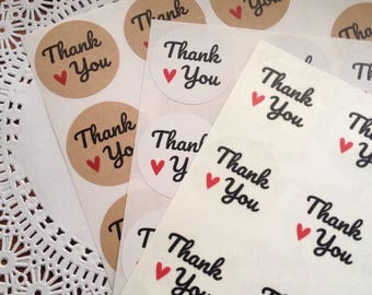 """60 pcs 1.5"""" Thank you stickers ,wedding, gifts,"""