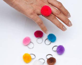 PomPom Ring/2cm pompom ring/Ethnic Acessory/colorful (Free Shipping With Another Items) /Wholesale