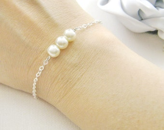SET of 7 simple pearl bridesmaid bracelet, bridesmaids gift wedding gifts bridal wedding party jewelry - BR002