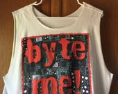Byte Me Crop Top Sleeveless Tank White Tee Shirt Tshirt Vintage 90s Hacker Programmer Microchip