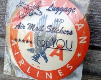 Vintage Unused American Airlines Eagle Travel Luggage Gummed Label Pair