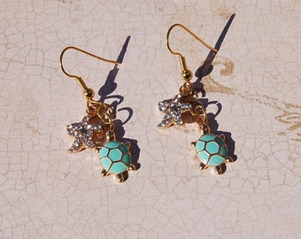 Turtle Rhinestone Starfish Earrings Cruise Beach Coastal Resort