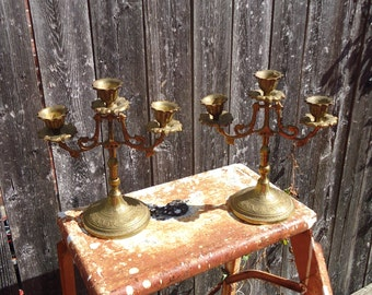 Vintage Lot of 2 Ornate Brass 3 Armed Candelabras