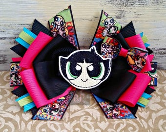 Stacked Boutique Hairbow with Bubbles, Blossom, or Buttercup Felt Clip Center - Powerpuff Girls -Hair Clip - Link Hand Sewn Bow
