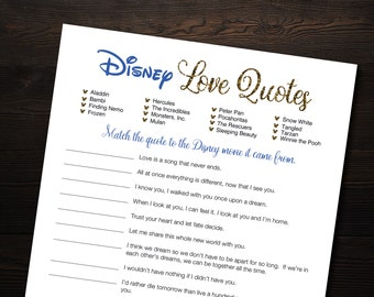 Disney Quote Match Blue and Gold Printable Bridal Shower Game Instant Download File