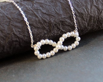 Pearl Infinity Necklace - Sterling Silver Bridal Jewelry- Free U.S Shipping-