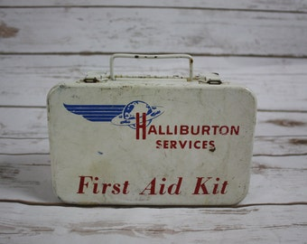 "Vintage 1970s ""Halliburton Services"" First Aid Kit Empty Latches Metal Box Case Oil and Gas Company Memorabilia"