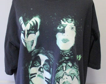 Vintage Glow in the Dark Kiss Band Tee XL 1996