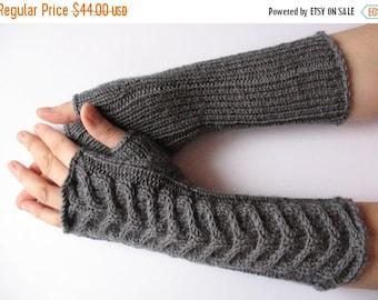 "Fingerless Gloves Long Dark Gray 11"" Mittens Arm Warmers, Acrylic Wool"
