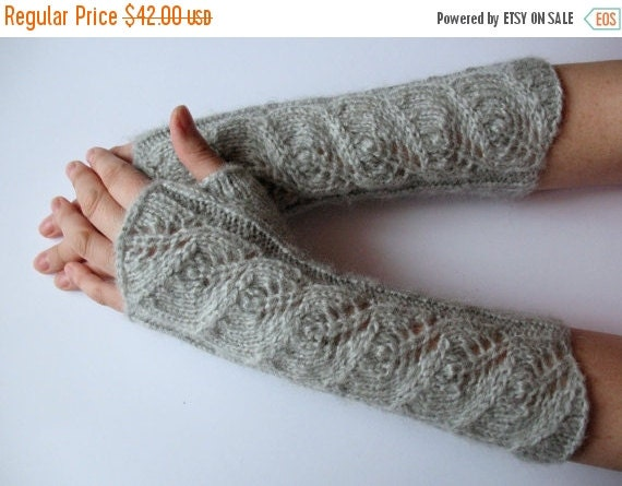 "Gray Fingerless Gloves Mittens light gray 11"" Arm Warmers, Soft acrylic, mohair"