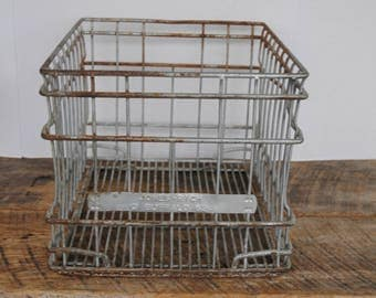 Vintage Wire Dairy Milk Crate Jones Rich Buffalo 1962