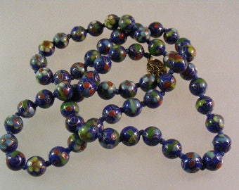 Vintage Chinese Blue Cloisonne Bead Necklace...  Lot 4982