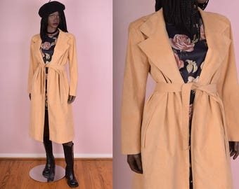 70s Faux Suede Coat/ US 10/ 1970s/ Jacket