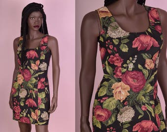 90s Floral Print Tank Dress/ Small/ 1990s/ Sleeveless