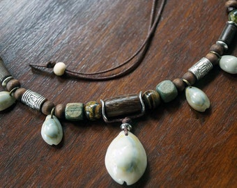 Men Shell Necklace, Tribal Necklace, Boho Necklace, Earth Tone Colors, Surfer Jewelry