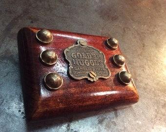 Cherry Wood Golden Nugget Gambling Hall Las Vegas handmade Belt Buckle with Brass studs